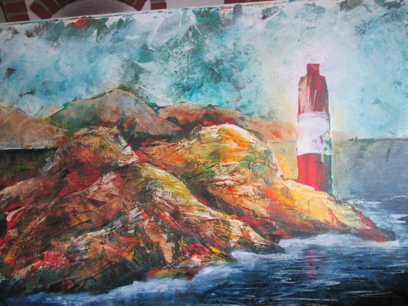 Lighthouse on rock coast